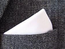 "White cotton Pocket Square Handkerchief hanky unisex 12"" x 12"" mod style"