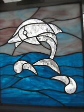 Dolphin bevel cluster stained glass panel window