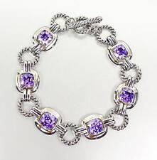 EXQUISITE Silver Cable Rings Purple Amethyst CZ Crystal Links Toggle Bracelet