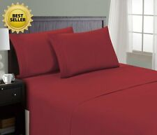 HC COLLECTION Hotel Luxury Comfort Bed Sheets Set, 1800 Series (King, Burgundy)