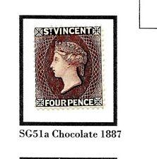 More details for st vincent 4d chocolate 1887 sg51a mint