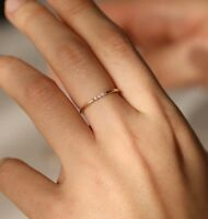 14K Solid Gold 1.3mm Thin 1, 2, 3 Diamonds Wedding Engagement Band Stacking Ring