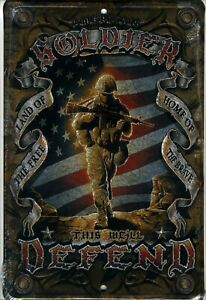 American Soldier Metal Sign Aluminum Parking Plaque USA Armed Forces Flag Defend