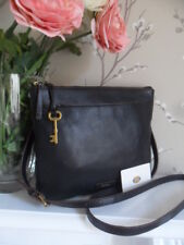 Fossil Julia Black Leather Crossbody Shoulder Bag Key Fits iPad mini RRP £179