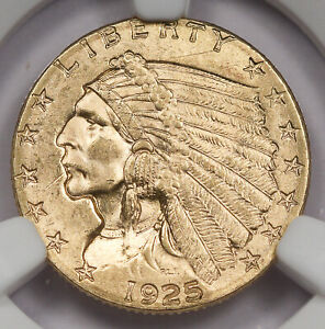 United States (US) 1925 D $2.5 Indian Head Quarter Gold Eagle Coin NGC MS64 BU