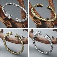 Unisex Viking Norse Wolf Head Silver Plated Open Bracelet Cuff Bangle Jewelry