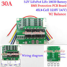 4S 30A 12.8V LiFePo4 LiFe 18650 Battery Charger Protection PCB Board w/ Balance