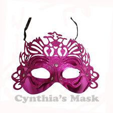 Fuschia  Venetian Metallic Plastic Glitter Masquerade Mask BZ302A
