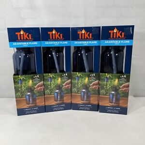 """Tiki Adjustable Flame Torch Set of 4 Tabletop Torch and 65"""" Full Size Torch"""