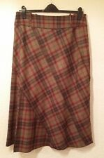 Per Una Italian Wool Mix Skirt, Lined, Khaki/Red/Wine Check, Size 16S