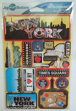 ~NEW YORK~ Reminisce Jet Setters Die Cut Dimensional Stickers; Times Square, NYC