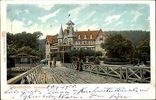1905 Stempel GRAVENSTEIN Schleswig auf color Litho-AK Brücke am Kurhaus Gebäude