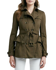 $595 NEW Burberry Brit Military Khaki Belted Peplum Trench Jacket. Size 8US.