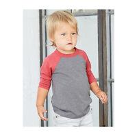 BELLA+CANVAS Toddler 3/4 Sleeve Raglan Baseball T Shirt 2T - 5T 3200T NEW