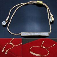 Chic Adjustable Silver Gold Plated ID Bar Rhinestone Crystal Bracelet Bangle