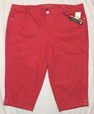 Gloria Vanderbilt Size 24W Jordyn Mid Rise Denim Capri Pants Coral Punch NWT