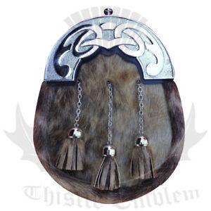 Men's Scottish Dress Leather Kilt Sporran Seal Skin Celtic Chrome Finish Chain