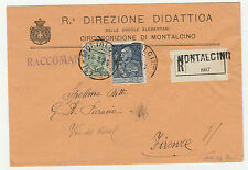 STORIA POSTALE 1925 REGNO C.20+L.1 SU RACCOMANDATA MONTALCINO 16/3  Z/1027