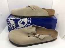 BIRKENSTOCK Mens Boston Taupe Brown Suede Clog Shoes Sz 10 EU43 ZB6-1275