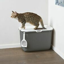 New Large Hop In Cat Litter Leak Proof Pet Toilet Box Top Entry Removable Cover