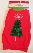 Christmas Pet Costume Ugly Sweater Size Small Red & Green Christmas Tree - New