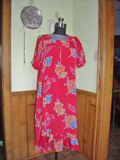 Womens Dress (2X) Red Island Flowers Ruffles Luau Party House Unbranded Plus