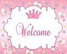 Pink Crown Princess Party Welcome Sign for Baby Girl Shower or Kids Birthday A1