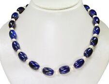 PRECIOSO Collar de Lapislázuli en barril con perlas de Agua Dulce 48cm
