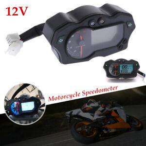 LCD Digital Motorcycle Speedometer Odometer Gauge w/Backlight 7 Color Universal