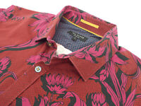 """TED BAKER Mens Shirt 🌍 Size 3 (CHEST 38"""") 🌎 RRP £65-129+📮 FLORAL STYLE"""