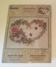 Bucilla Counted Cross Stitch Kit 43092 Grapevine Wreath with Floral 14 x 11 NEW