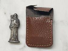 Vintage Pocket Shrine St Anthony Holding Baby Jesus Figure Metal Silver w/ Pouch
