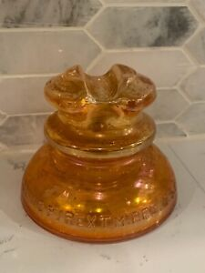 Vintage Corning Pyrex 662  Marigold Carnival Glass Saddle Top Dome Insulator