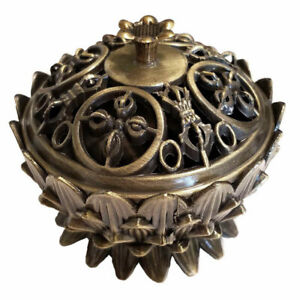 """NEW Lotus Incense Burner with Lid 2.5"""" Bronze Color Antique Style Brass"""
