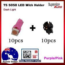 10x Purple Pink T5 LED + Socket Kit Automotive Dash Panel Instrument Light Globe