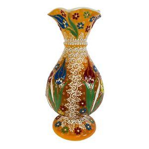 Turkish Handmade Floral Vase Traditional Hand Painted Ceramic Vase 12 inch