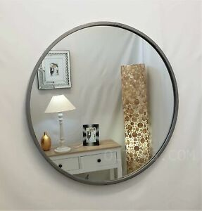 Rustic Aged Silver Round Metal Frame Industrial Wall Mirror 70cm 28 Vintage