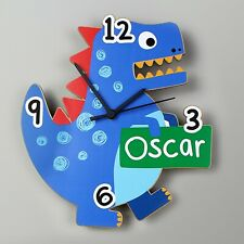 Childrens Personalised Dinosaur Shape Wooden Clock - Add any Name, Birthday Gift
