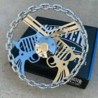 13 Chrome Chain Steering Wheel Pistol Gun With Engraved Horn Button-6 Hole