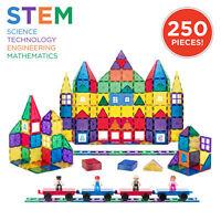 BCP 250-Piece Kids STEM 3D Rainbow Magnetic Building Block Tile Toy Play Set