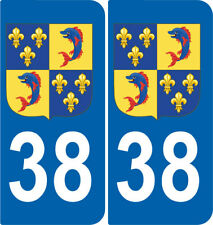 Département 38 sticker 2 autocollants style immatriculation AUTO BLASON DAUPHINE