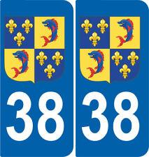 Département 38 sticker 2 autocollants style immatriculation AUTO BLASON DAUPHINE