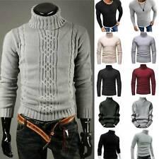 Мужские зимние теплые трикотажные поло рулон черепаха шеи пуловер свитер ребристый джемпер