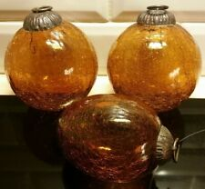 3 Amber Brown Crackled clear Glass witches Baubles Balls Kugel vintage