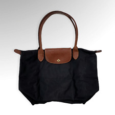 Longchamp Le Pliage Small Black Nylon Tote Bag Leather Strap FLAWED
