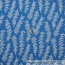 BonEful Fabric FQ Cotton Quilt VTG Blue White Flower Leaf Branch Baby Boy Stripe