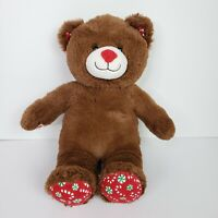 "Build A Bear Brown Plush Teddy Mint Candy Cane Christmas Red 16"" Stuffed BABW"