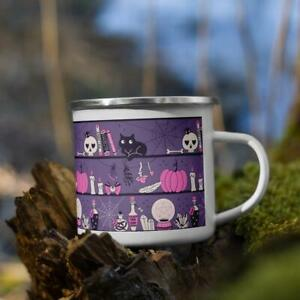 Purple Cat Witch Camping Mug Witchy Tea Coffee Cup Halloween Gift For Cat Lover