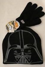 NEW Boys Star Wars Beanie Hat Gloves Set Darth Vader Acrylic Knit Cap Black ROTJ