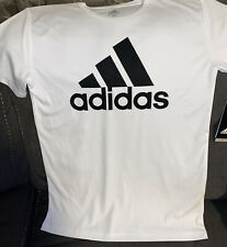 Adidas Boy's Short Sleeve Climalite Performance White Logo T-Shirt Large{14/16}!